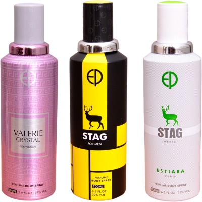 ESTIARA 1 VALERIE CRYSTAL::1 STAG::1 STAG WHITE Deodorant Spray  -  For Men, Women