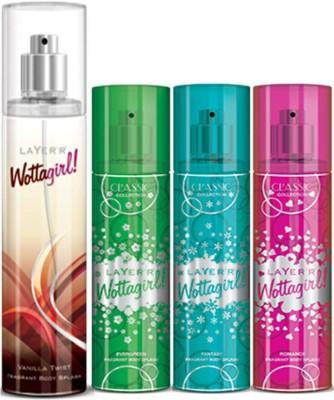 Layer,r Layer,r Wottagirl Vanila Twist 135ml, Evergreen60ml,Fantsy60ml,Romace60ml Body Spray(Set of4) Body Spray  -  For Women