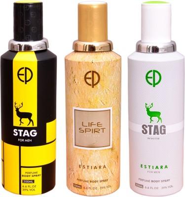 ESTIARA 1 STAG::1 LIFE SPIRIT::1 STAG WHITE Deodorant Spray  -  For Men, Women