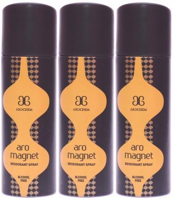 Arochem 3 x Magnet Deodorant Spray  -  For Men, Women