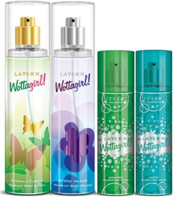 Layer,r Layer,r Wottagirl Emerald Fussion 135ml,Mystic Island135ml Evergreen60ml,Fantsy60ml Body Spray(Set of4) Body Spray  -  For Women