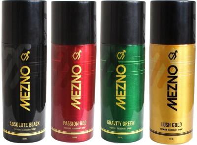 Mezno Fragrance Deodorant Combo of 4 Body Spray  -  For Men