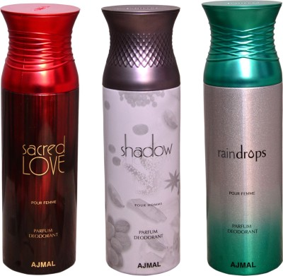AJMAL 1 SACRED LOVE::1 SHADOW FOR HIM::1 RAINDROPS Deodorant Spray  -  For Men
