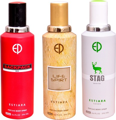 ESTIARA 1 BACKPACK RED::1 LIFE SPIRIT::1 STAG WHITE Deodorant Spray  -  For Men, Women