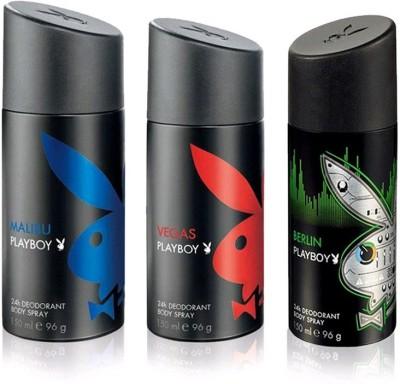 Playboy Malibu, Vegas, Berlin Deodorant Spray  -  For Men