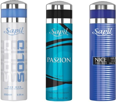Sapil SOLID PASSION(M) NICE FEELING BLUECOMBO SET OF 3PCS Body Spray  -  For Men