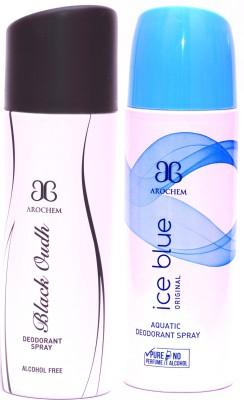 Arochem Black Oudh Ice Blue Deodorant Spray  -  For Men, Women