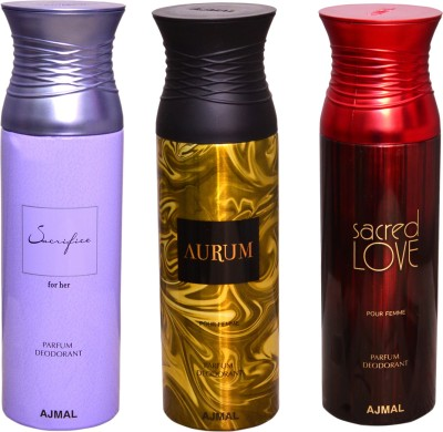AJMAL 1 SACRIFICE FOR HER::1 AURUM::1 SACRED LOVE Deodorant Spray  -  For Women