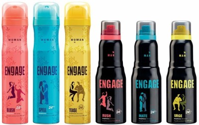 Engage Combo Set Of 6 Deodorant Spray  -  For Men
