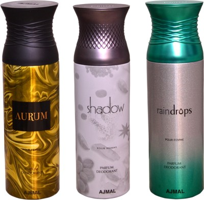 AJMAL 1 AURUM::1 SHADOW FOR HIM::1 RAINDROPS Deodorant Spray  -  For Men