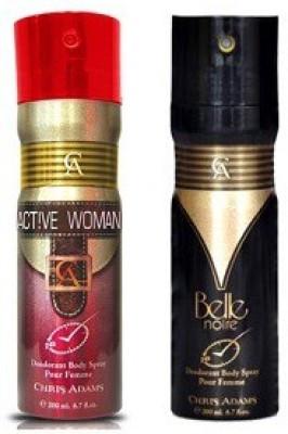 Chris Adams Pack of 2 (Belle Noire+ Active Women) Body Spray  -  For Women