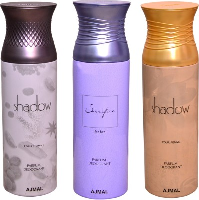 AJMAL 1 SHADOW FOR HIM::1 SHADOW FOR HER::1 SACRIFICE FOR HER Deodorant Spray  -  For Men