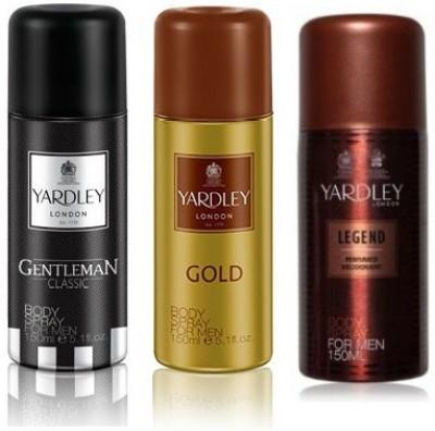 Yardley London Gentleman & Gold & Legend Body Spray  -  For Boys, Men