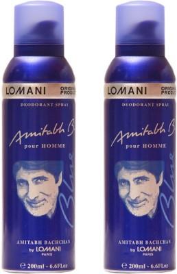 Lomani Amitabh Blue Deodorant Spray  -  For Men, Women