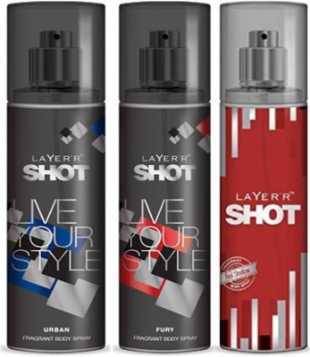 Layer,R Shot Urban, Fury, Red Stailian Fragrance Body Spray Deodorant Spray  -  For Men