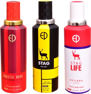 ESTIARA 1 AQUATIC ROSE::1 STAG::1 STAG LIFE Deodorant Spray  -  For Men, Women