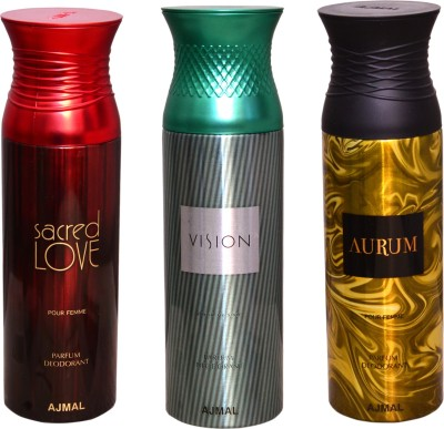 AJMAL 1 SACRED LOVE::1 VISION::1 AURUM Deodorant Spray  -  For Men