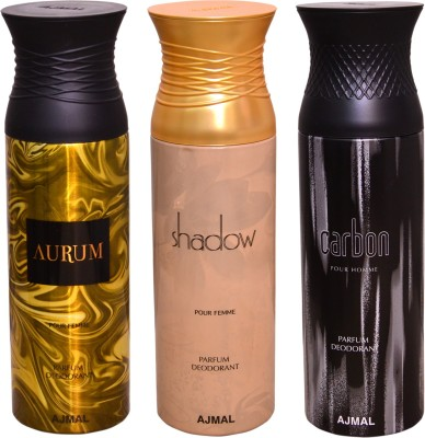 AJMAL 1 AURUM::1 SHADOW::1 CARBON Deodorant Spray  -  For Men