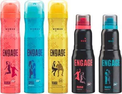 Engage Combo Set Of 5 Deodorant Spray  -  For Women, Men