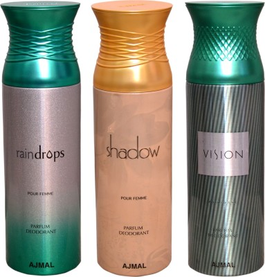 AJMAL 1 RAINDROPS::1 SHADOW::1 VISION Deodorant Spray  -  For Men