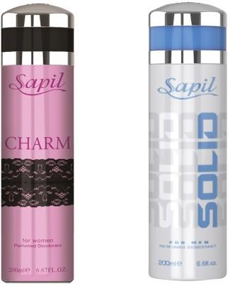 Sapil Charm Women & Solid Men Deodorant combo set of 2pcs Body Spray  -  For Men, Women
