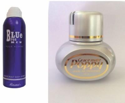 Rasasi Rasasi Blue Deo + Poppy CK1 Car Freshener Free Deodorant Spray  -  For Boys, Girls, Men, Women