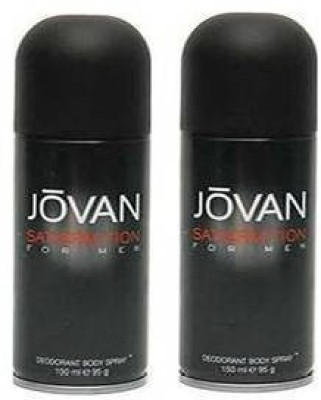 Jovan Satisfaction Deodorant Spray (Pack Of 2) Body Mist - For Men