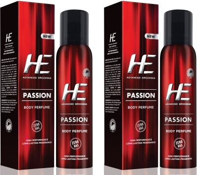 HE DEO Body Perfumed (PASSION) 122 ml * 2 Body Spray  -  For Men