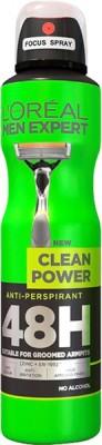 L,Oreal Paris Clean Power 48 H Deodorant Spray  -  For Men