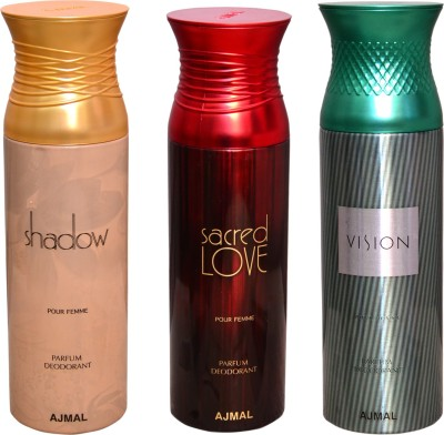 AJMAL 1 SHADOW::1 SACRED LOVE::1 VISION Deodorant Spray  -  For Men