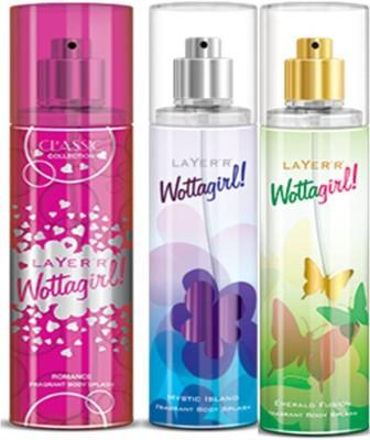Layer,r Layer,r Wottagirl Romance, Mystic Island, Emerald Body Spray(Set of3) 135 ml Each Body Spray  -  For Women