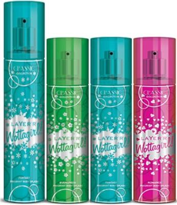 Layer,r Layer,r Wottagirl Fantsy 135ml, Evergreen60ml,Fantsy60ml,Romace60ml Body Spray(Set of4) Body Spray  -  For Women