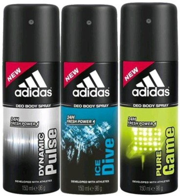 Adidas dynamicplus,ice dive,puregame Deodorant Spray  -  For Men & Women(300 ml) at flipkart