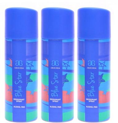 Arochem 3 x Blue Star Deodorant Spray  -  For Men, Women