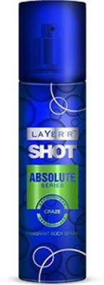 Layerr Shot - Absolute Series - Craze Deodorant Spray - For Men, Boys(135 ml)