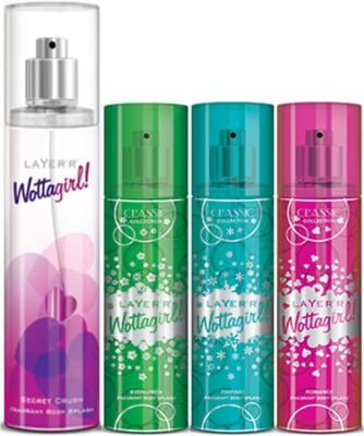 Layer,r Layer,r Wottagirl Secret Crush 135ml, Evergreen60ml,Fantsy60ml,Romace60ml Body Spray(Set of4) Body Spray  -  For Women