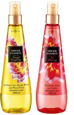 Avon Sheer Passion (Tempting & Captivating) - 200 ml each Body Mist  -  For Women, Girls