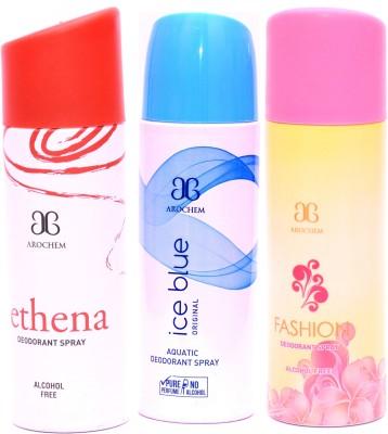 Arochem Combo Ethena Ice Blue Fashion Deodorant Spray  -  For Men, Women