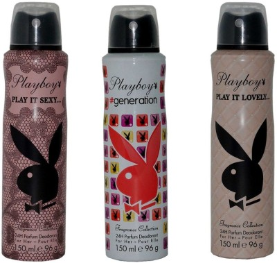 Playboy Pack of 3 Women Deos Deodorant Spray - For Women(450 ml)