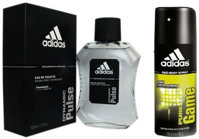 Adidas The Dynamic Pulse EDT & Pure Game Deo combo Body Spray  -  For Boys, Men