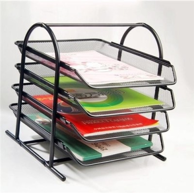 Dingguagua Magazine Tray 4 Compartments Metal Mesh Tray(Black)