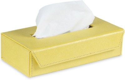 Ecoleatherette TB 1 Compartments Eco Leather Tissue Box Holder(Yellow)