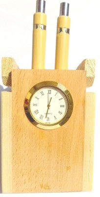 RG PH 2 Compartments Wooden Pen Holder With Watch