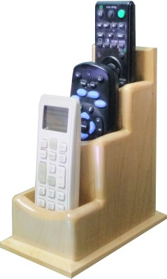 SLK Wood Products 3 Compartments Maple Wood Remote Holder
