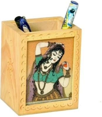 Bajya Gemstone Painted Handcrafted 1 Compartments Wooden Pen Stand