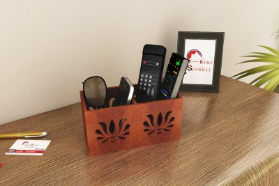 Home Sparkle 2 Compartments Engineered Wood Remote Cum Mobile Holder::Organizer