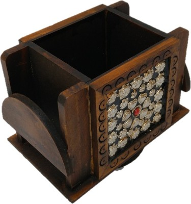 JaipurCrafts Silver Flower 2 Compartments Wood Pen Stand