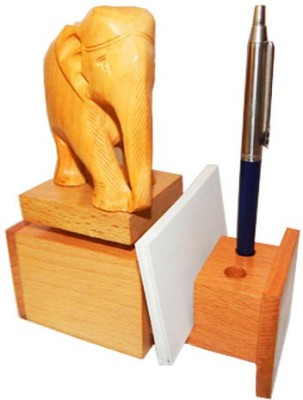Sasta 3 Compartments wooden pen stand with visiting card holder