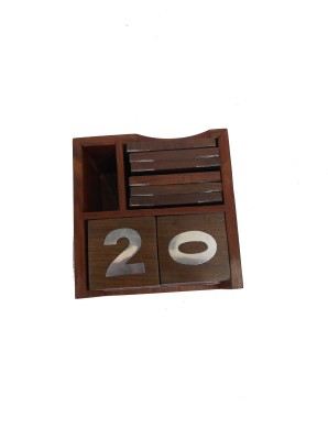 HANDICRAFT 3 Compartments WOOD, STEEL CALENDER AND COASTER