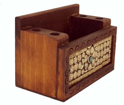 Divinecrafts 3 Compartments Wood Pen holder , Letter Holder